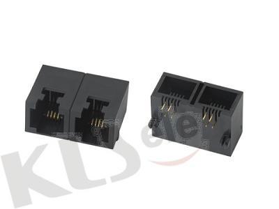 KLS12-142-6P Double PCB Modular Jack RJ11/RJ12/RJ14/RJ25(53SERIES)