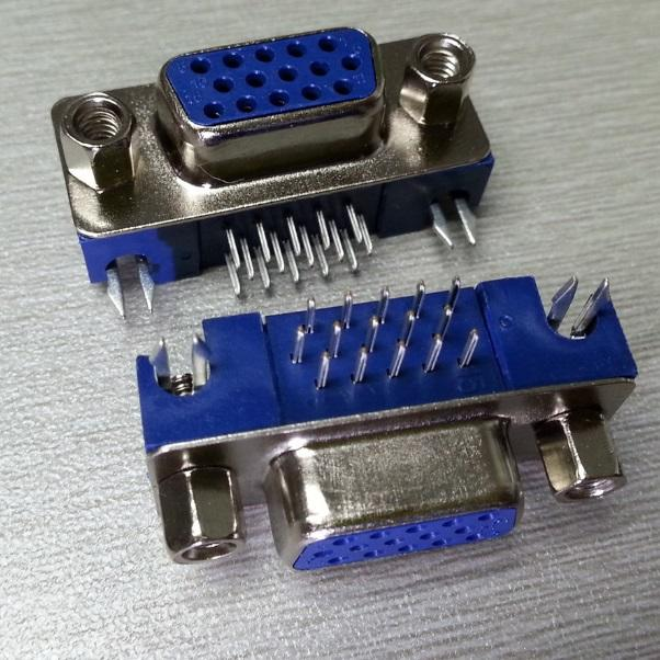 KLS1-415 HDR 3 Row PCB Right Angle 3.08mm Type D-Sub Connector 15 pin female