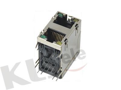 KLS12-313-8P8C-2X1 Dual RJ45 Modular Jack Shield With LED
