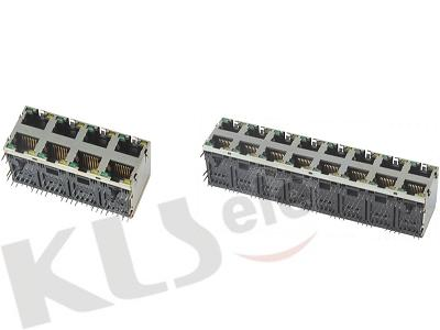 KLS12-313-8P-2X2/KLS12-313-8P-2X4/KLS12-313-8P-2X6/KLS12-313-8P- 2X8 RJ45 Modular Jack Shield With LED