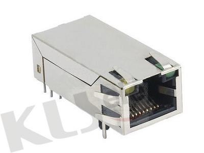 KLS12-TL005 RJ45 Modular Jack with LED/Transformer (Right PCB Mount)