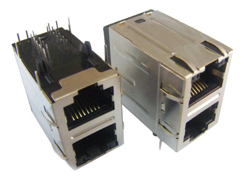 KLS12-TL009 Dual RJ45 Modular Jack with LED Transformer( Right PCB Mount )