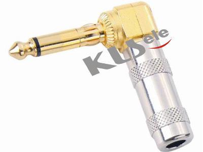 KLS1-PLR-01  Gold 6.3mm Mono Audio  Plug-Right